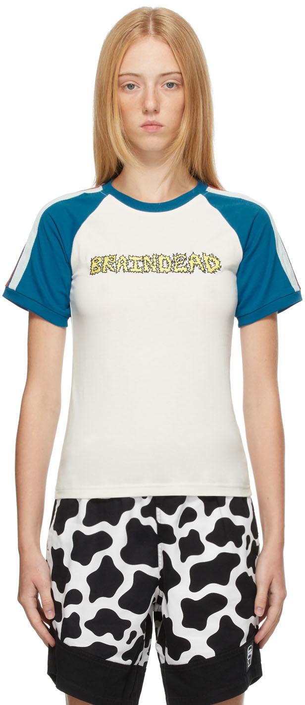 White & Blue Vintage Raglan T-Shirt