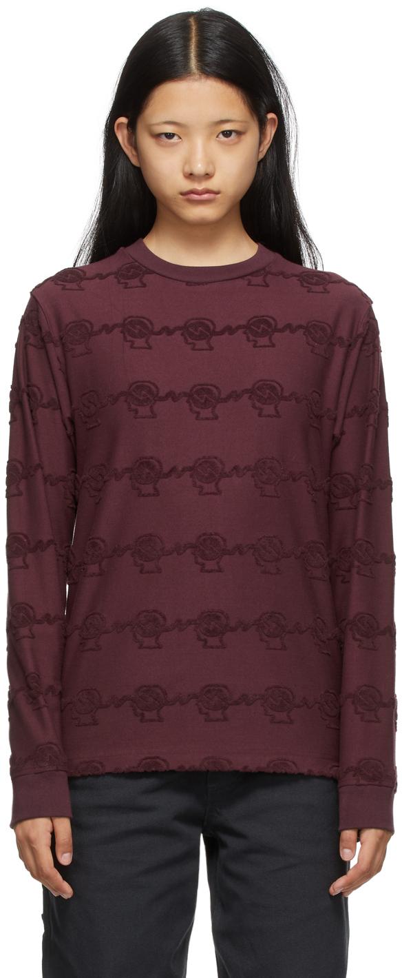 Burgundy Running Head Textured Long Sleeve T-Shirt