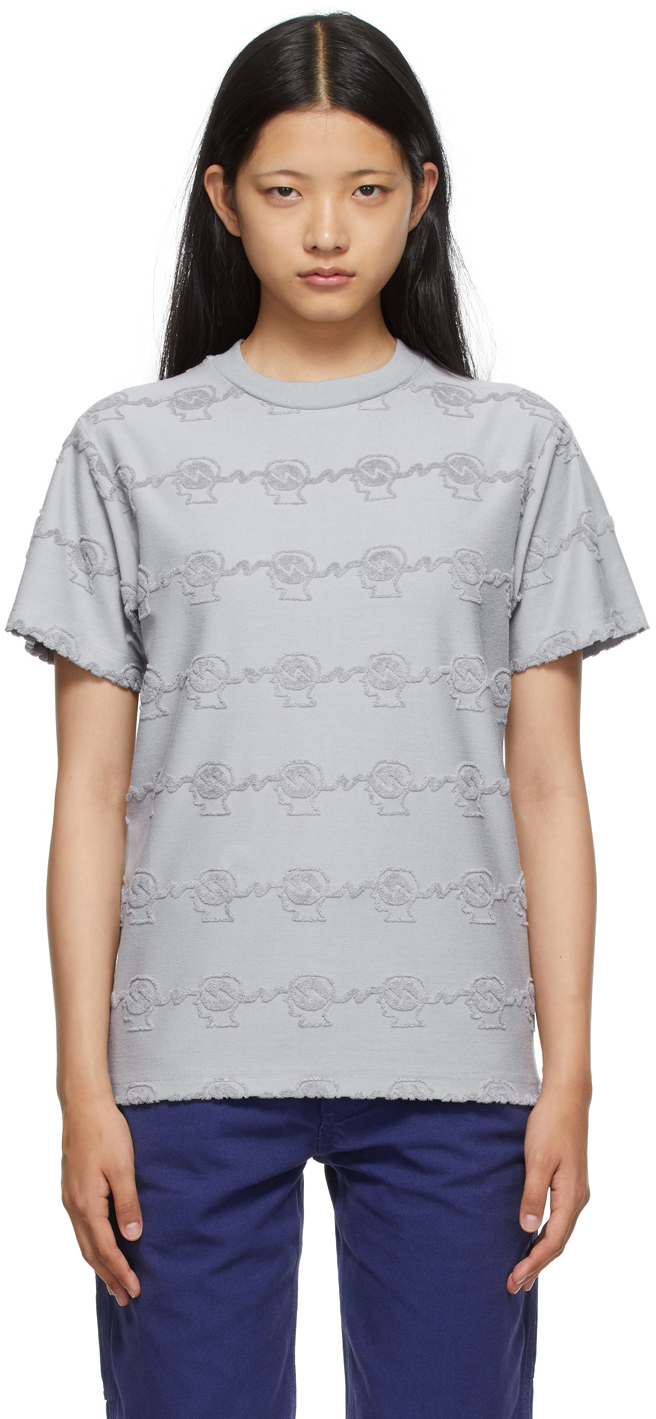 Grey Running Head Textured T-Shirt