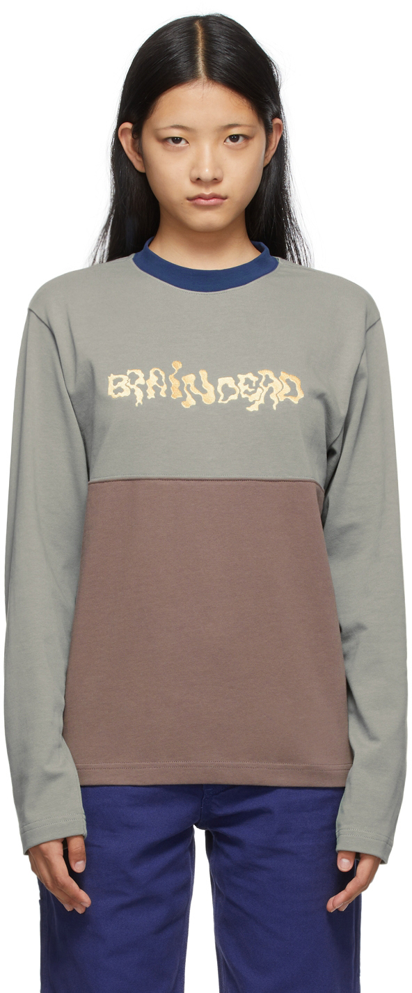 Grey & Brown Embroidered Football Long Sleeve T-Shirt