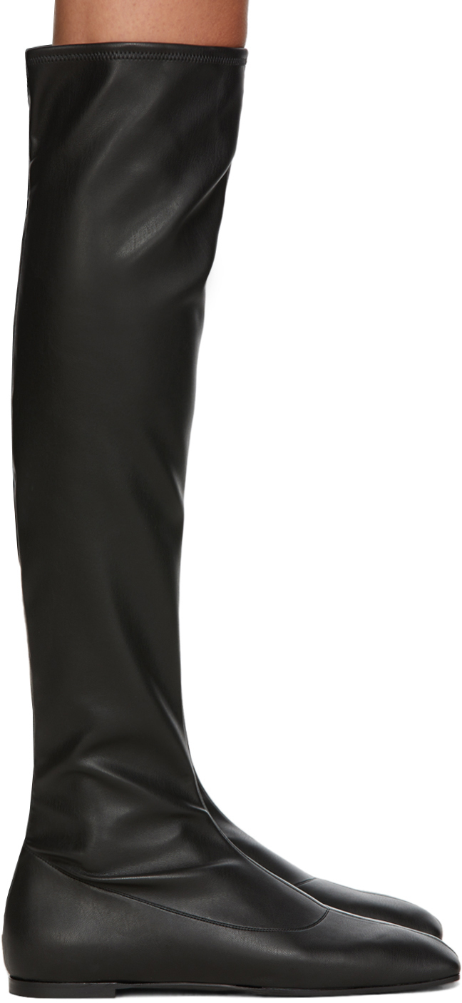 Black Leather Stretch Tall Boots
