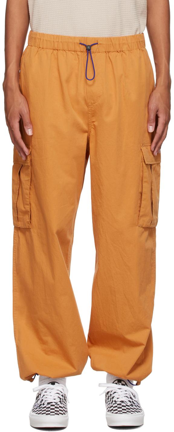 Orange Poplin Flight Cargo Pants