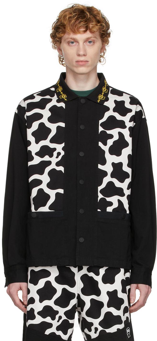 Black & White Cow Cabana Shirt