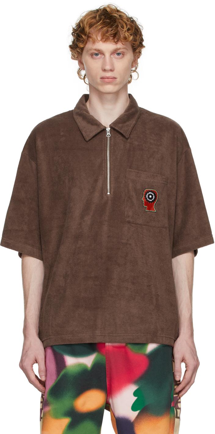 Brown Half-Zip Racing Polo