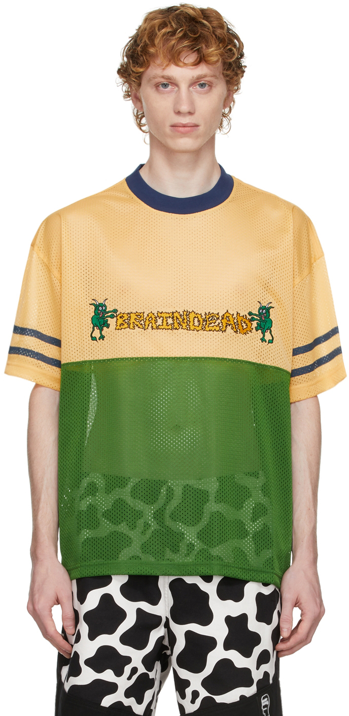Yellow & Green Mesh Football T-Shirt