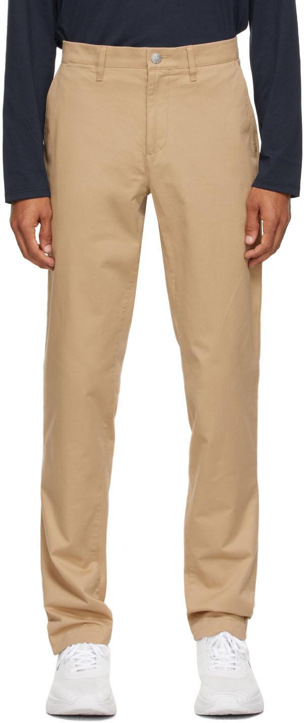 Beige Gabardine Chino Slim Fit Trousers