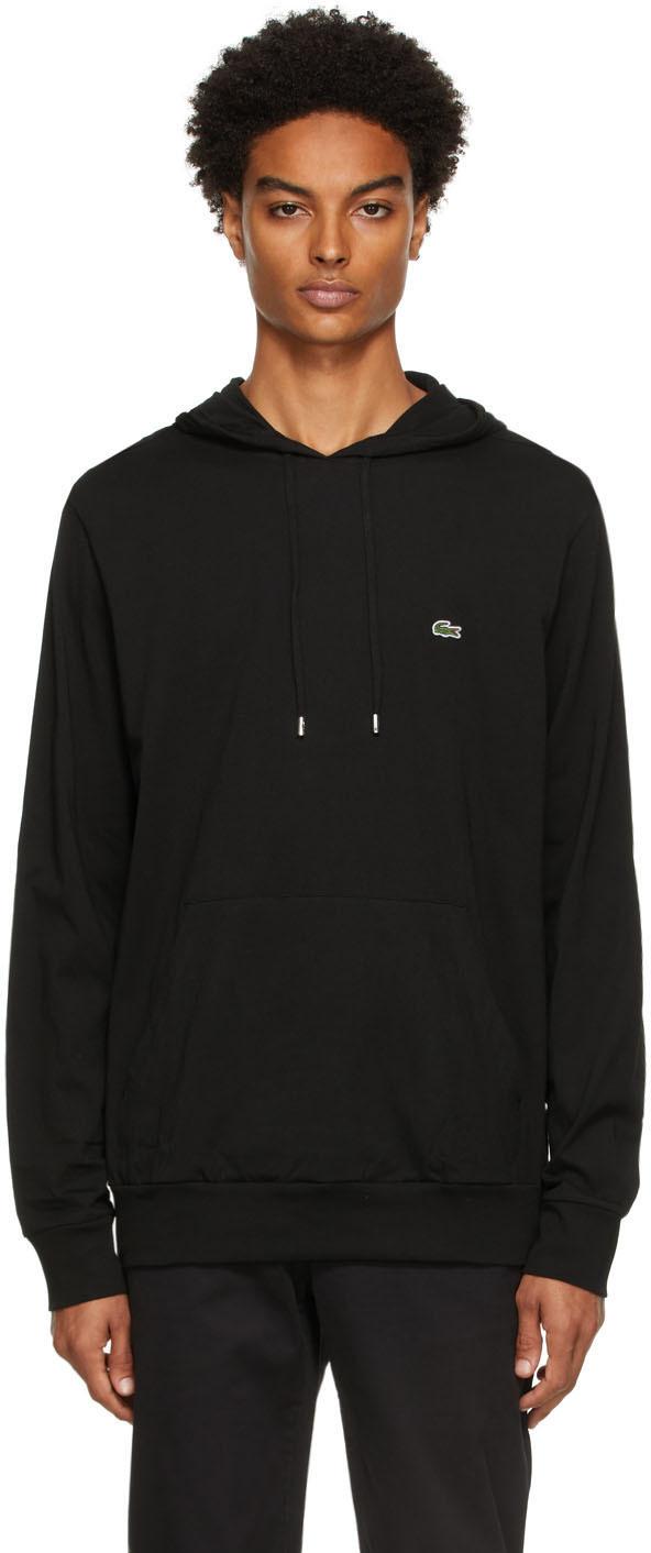 Black Cotton Jersey Hoodie