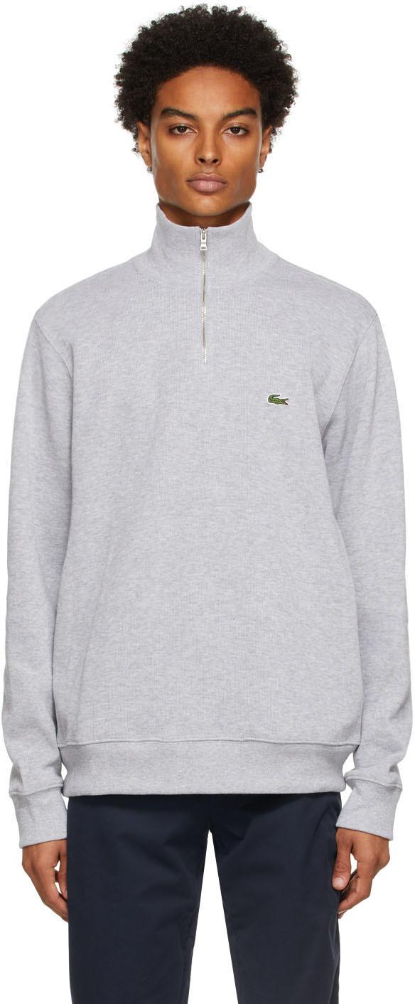 Grey Cotton Quarter-Zip Sweatshirt