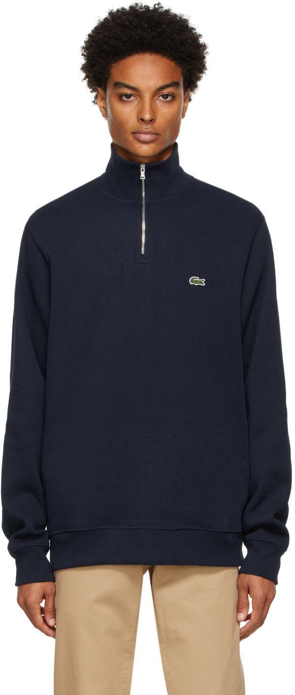 Navy Cotton Quarter-Zip Sweatshirt