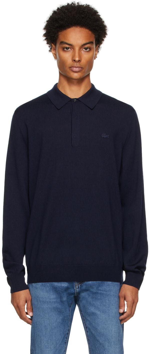 Navy Merino Wool Long Sleeve Polo