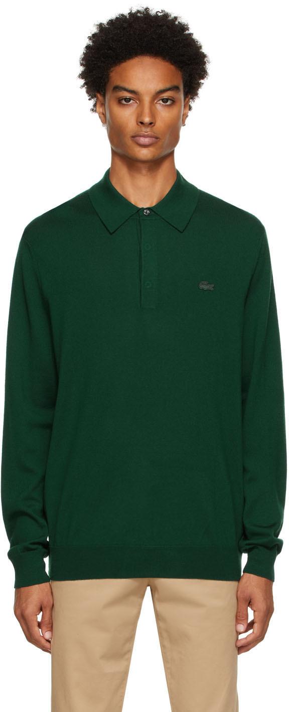Green Merino Wool Long Sleeve Polo