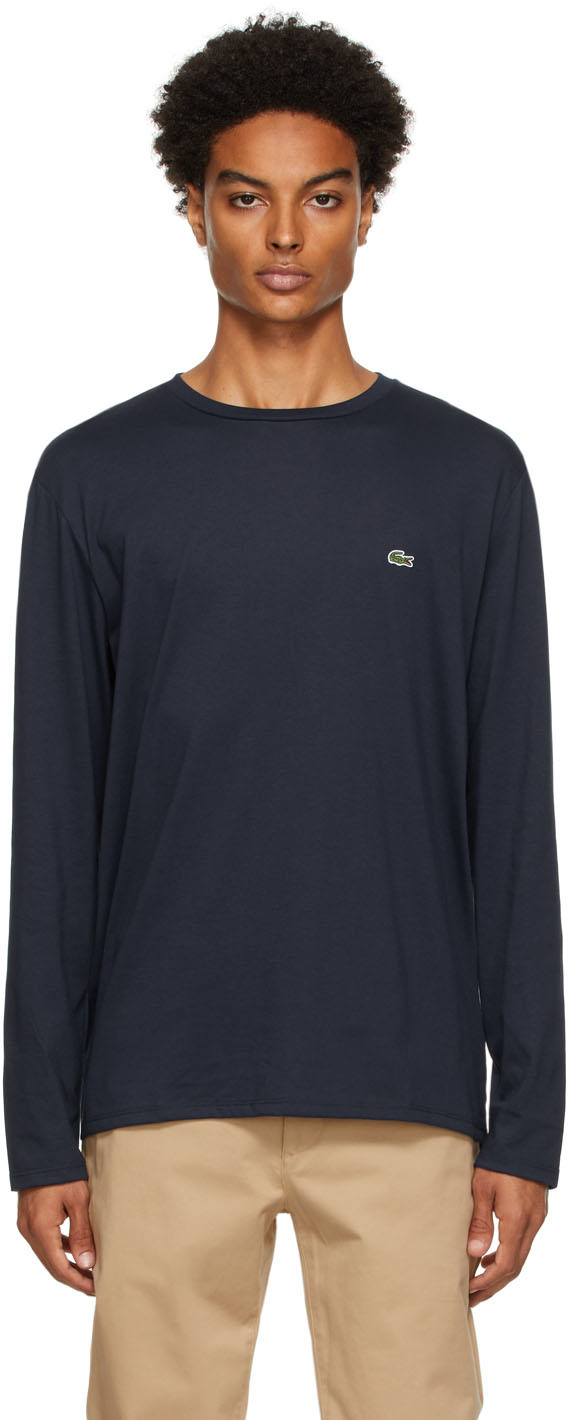 Navy Pima Cotton Long Sleeve T-Shirt