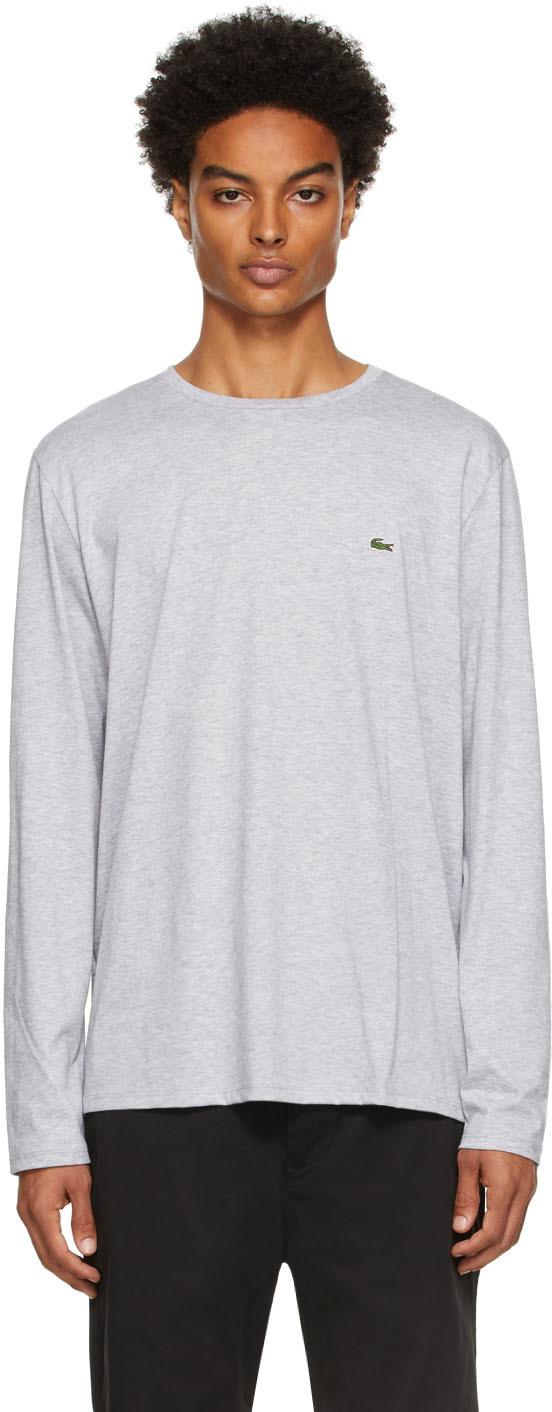 Grey Pima Cotton Long Sleeve T-Shirt