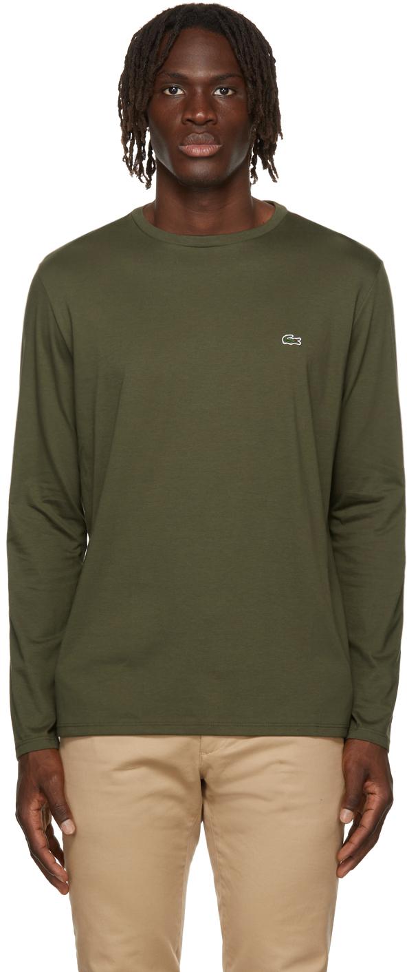 Green Pima Cotton Long Sleeve T-Shirt