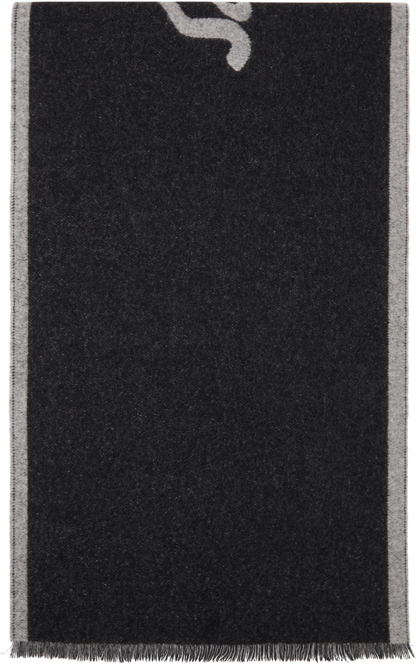 Salvatore Ferragamo ブラック & グレー リサイクル カシミア 1927 マフラー