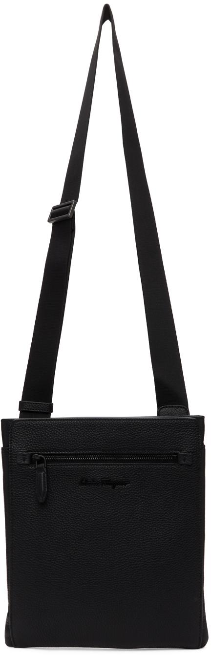 Black Grained Messenger Bag