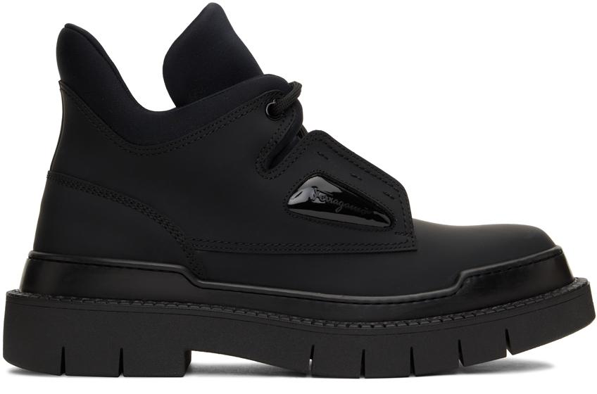 Black Neji Lace-Up Boots