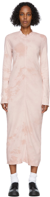 Pink Tie-Dye Long Sleeve Fitted Dress