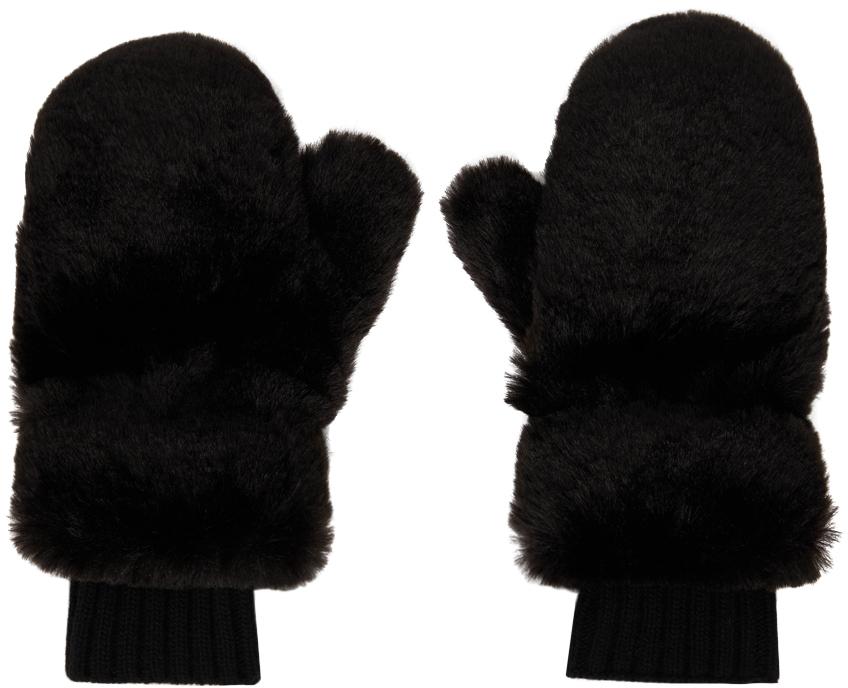 Black Faux-Fur Mittens