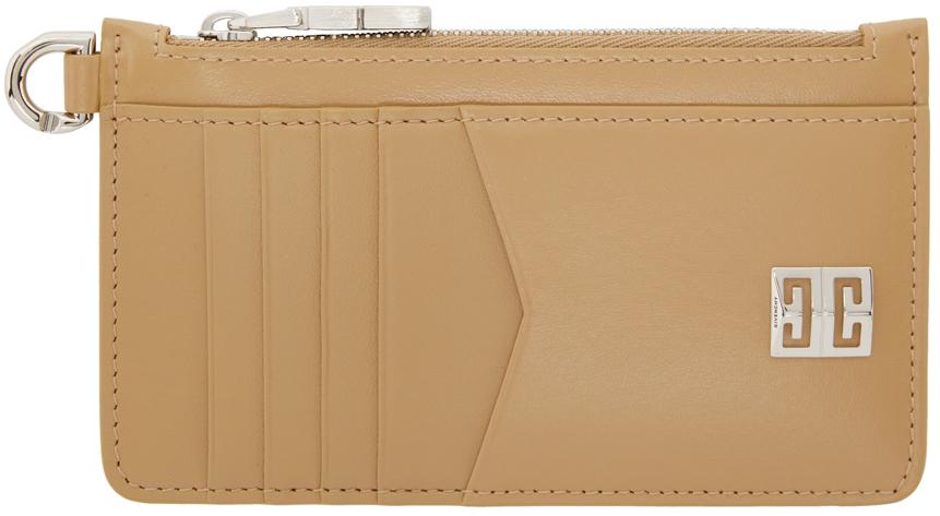 Beige 4G Zipped Card Holder