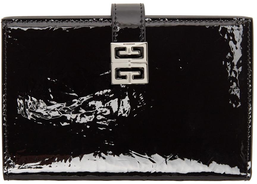 Black Patent Crinkled 4G Wallet