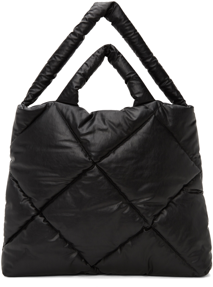 Black Large Quilted Pillow Tote