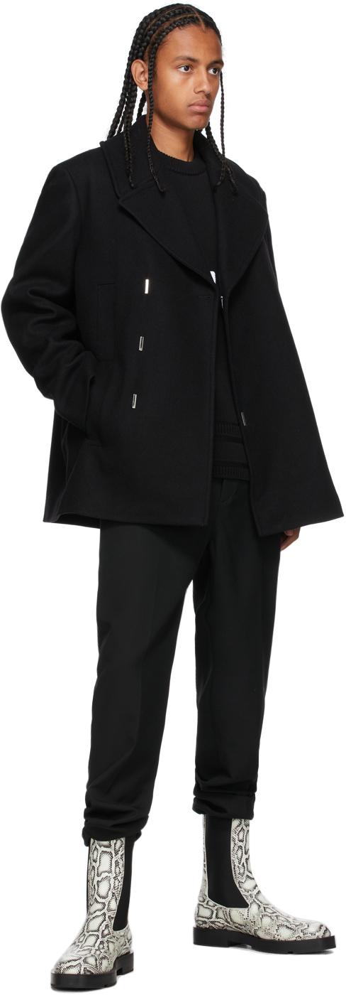 Givenchy ブラック ダブルブレスト ピーコート