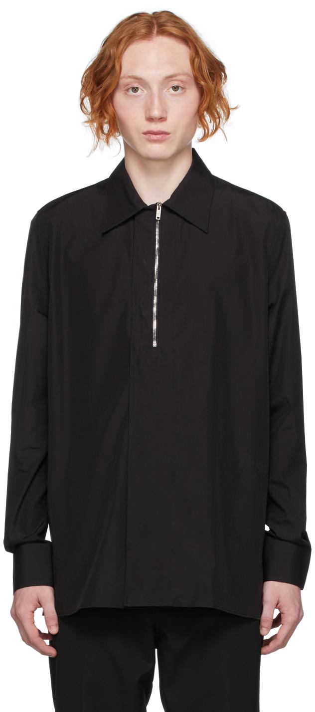 Black Poplin Zip Shirt