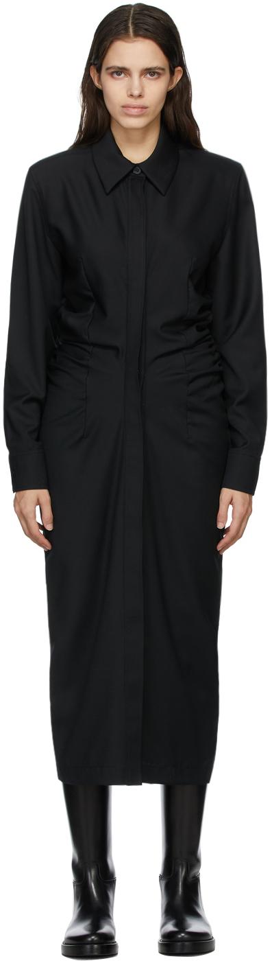 Matériel Tbilisi Black Mid- Length Gathered Dress