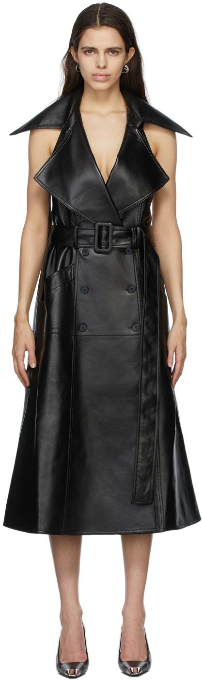 Matériel Tbilisi Black Faux-Leather Dress