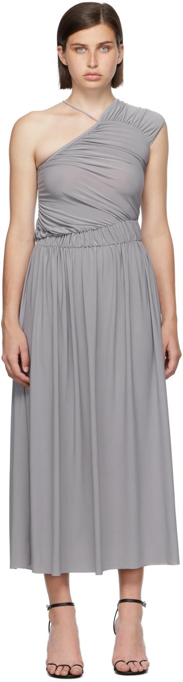 Matériel Tbilisi Grey One Shoulder Gathered Dress