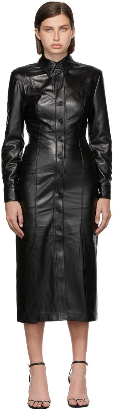 Matériel Tbilisi Black Faux-Leather Button Down Dress