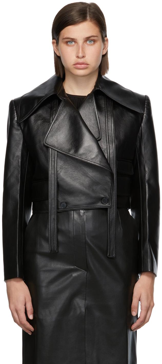 Matériel Tbilisi Black Faux-Leather Wide Lapel Jacket