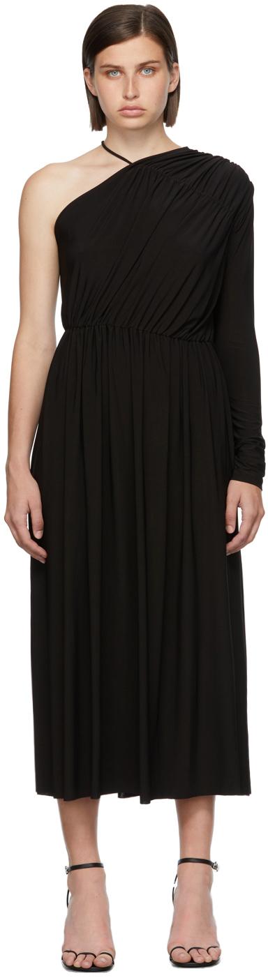 Matériel Tbilisi Black One Sleeve Gathered Dress