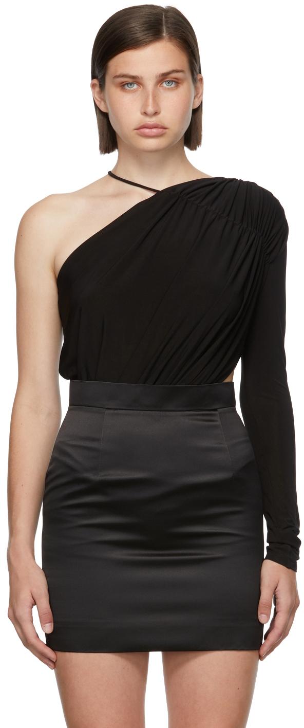 Matériel Tbilisi Black One Sleeve Gathered Bodysuit.