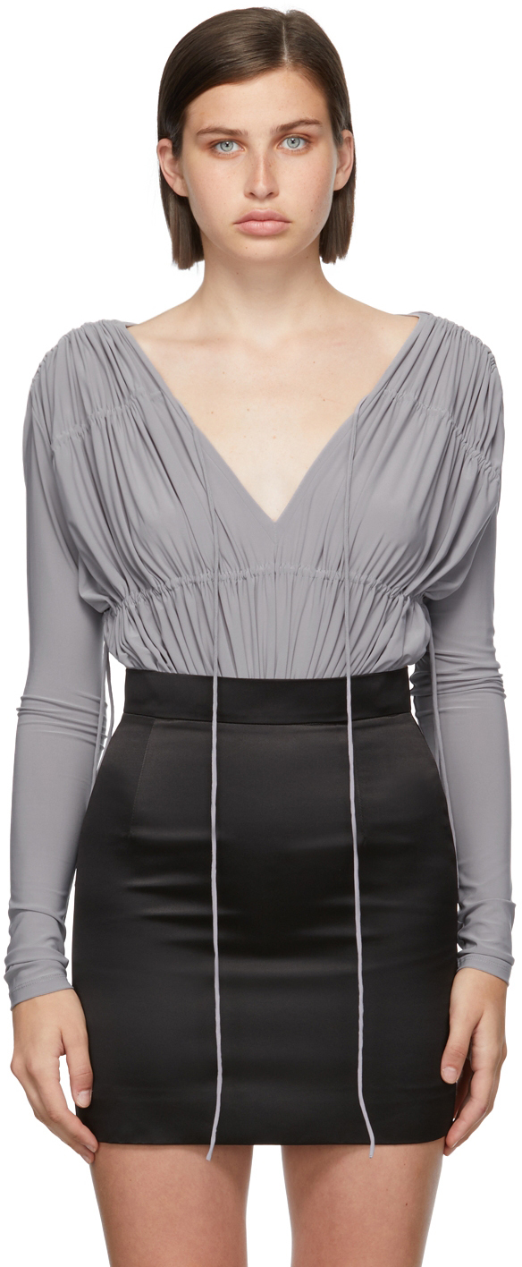 Matériel Tbilisi Grey V-Neck Gathered Bodysuit