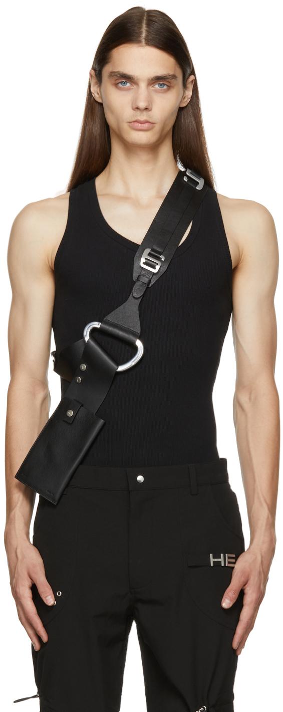 Black Leather Harness Phone Holder Bag
