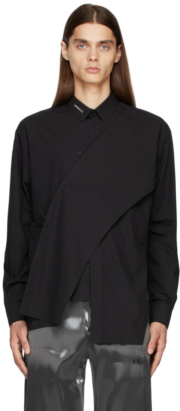 Black Asymmetric Deconstructed Shirt
