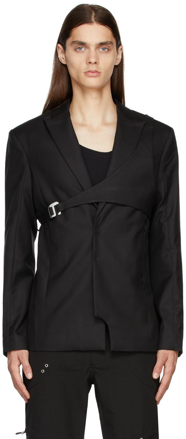 Black Wool Harness Blazer