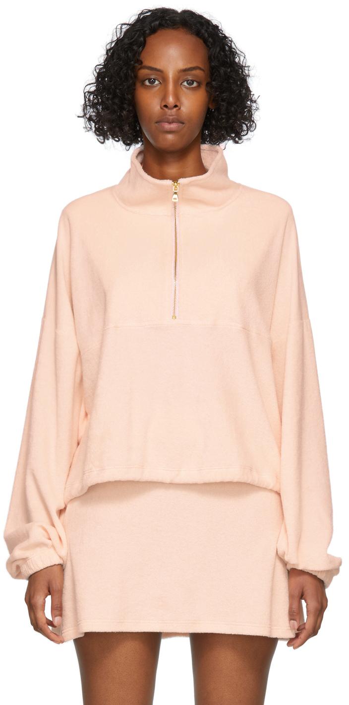 SSENSE Exclusive Pink Terry Half-Zip Diana Sweater