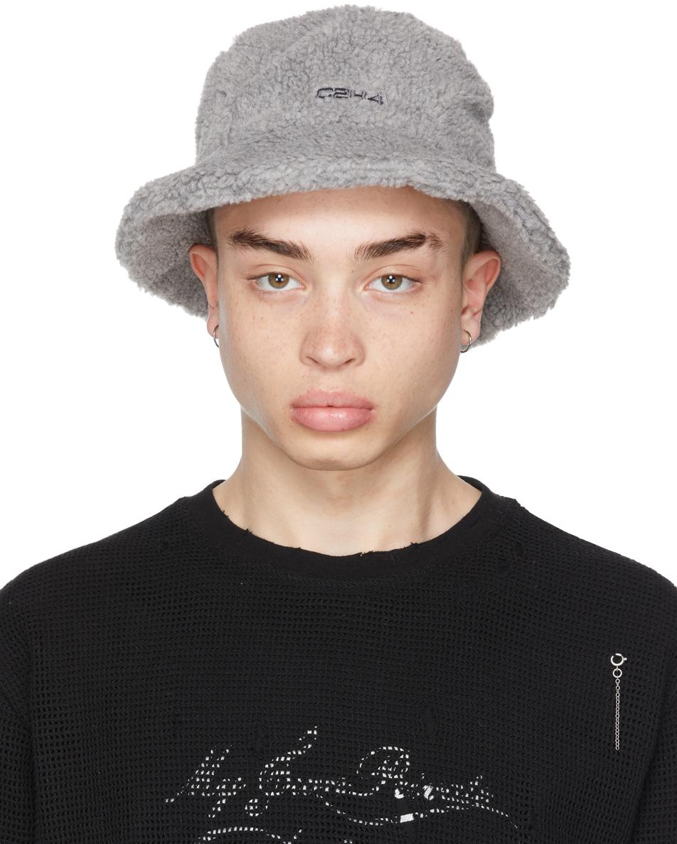 SSENSE Exclusive Grey Fleece 'Filtered Reality' Bucket Hat