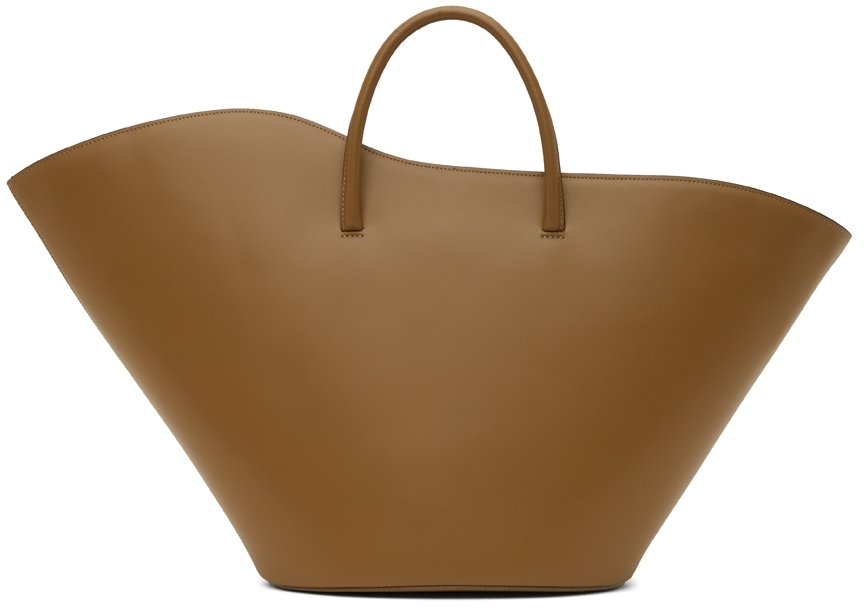Taupe Large Open Tulip Tote