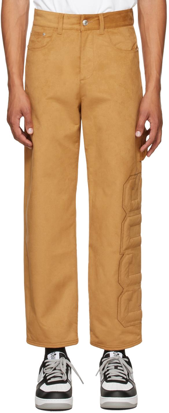 Tan Faux-Suede Logo Trousers
