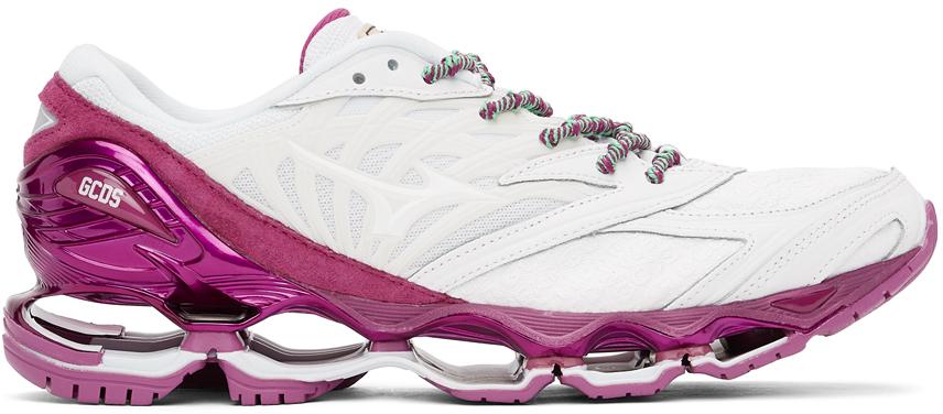 White & Purple Mizuno Edition Wave Prophecy 8 Sneakers