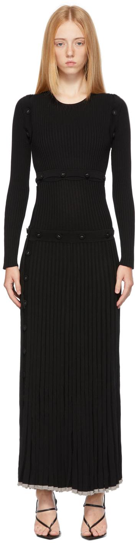 Black Deconstruct Long Sleeve Dress