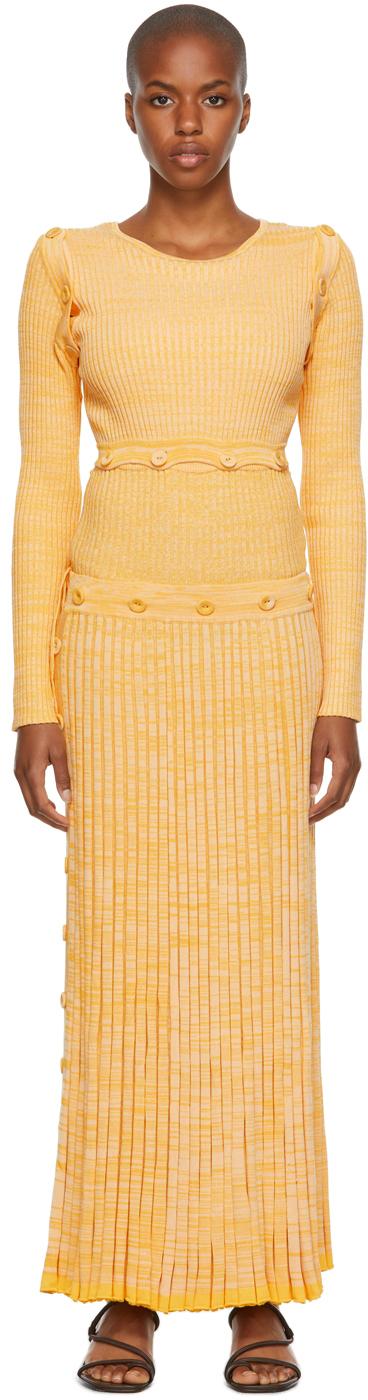 Yellow Deconstruct Long-Sleeve Mid-Length Dress