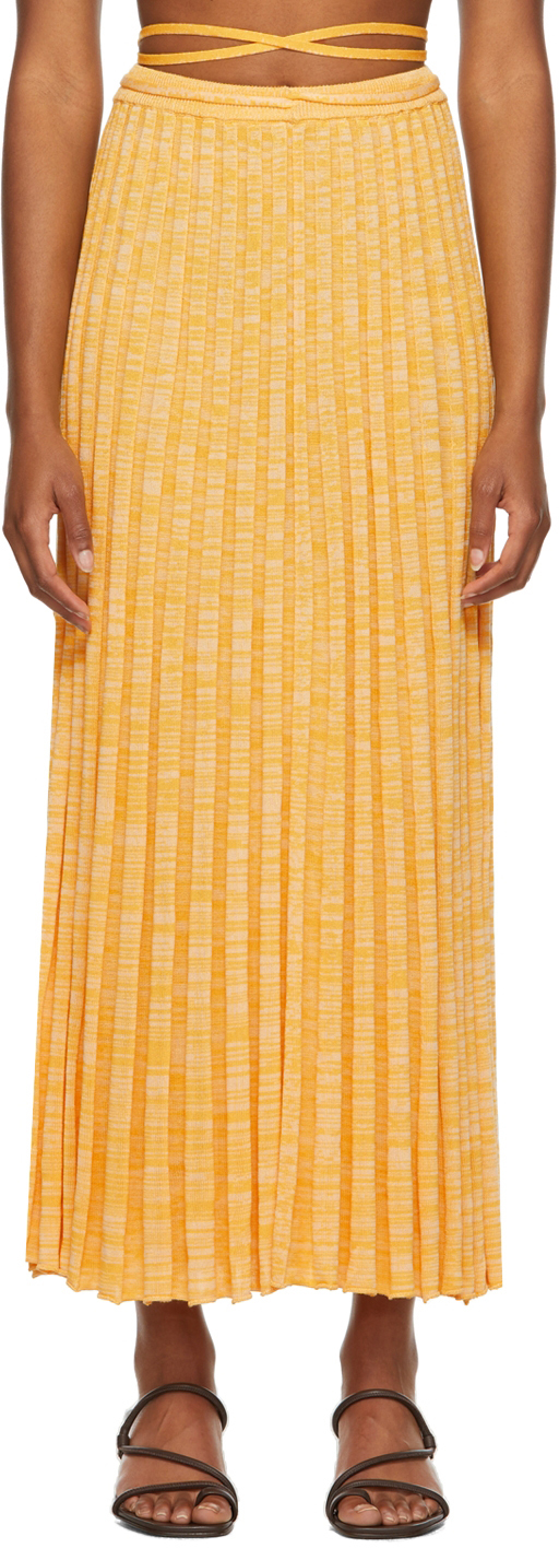 Yellow Pleated Knit Tie Mid-Length Skirt