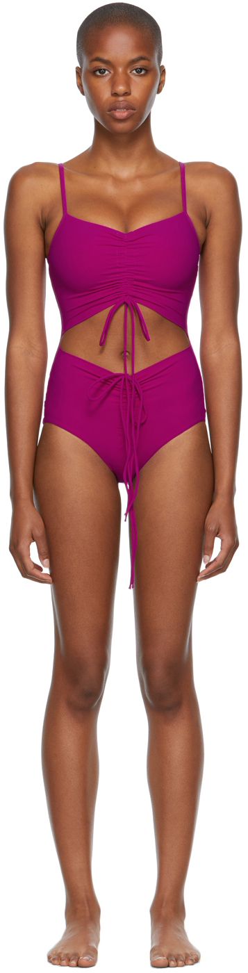 Pink Ruched Disconnect One-Piece Swimsuit