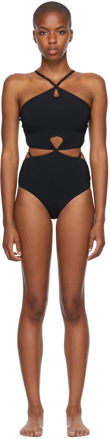 Black Looped Halter One-Piece Swimsuit