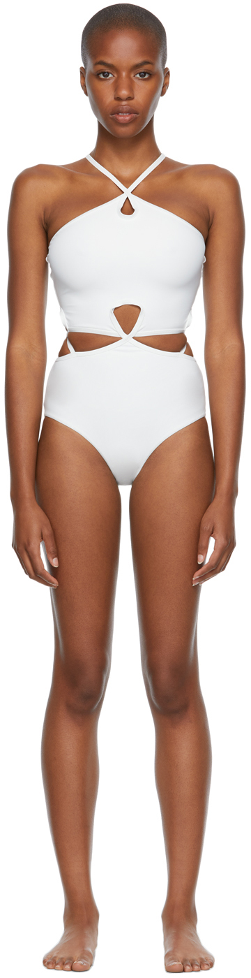 White Looped Halter One-Piece Swimsuit